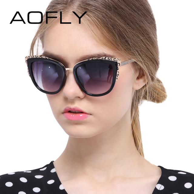 Aofly sunglasses moda cat eye óculos de sol para as mulheres estilo único com flores óculos de sol de marca mulheres do desenhador óculos espelhados
