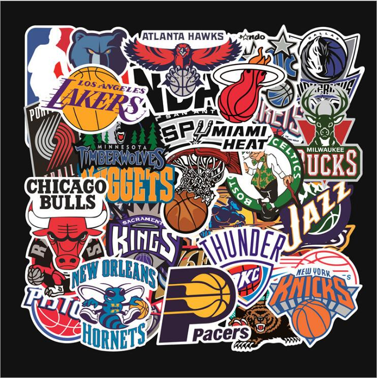 Wall Stickers 32 piece a Packing Cartoon NBA, Basketball Symbol, American Basketball Team graffiti tie boxes stickers image