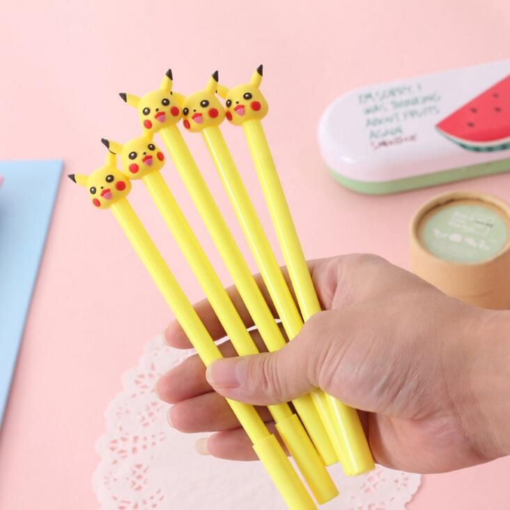 4 pcs/lot 0.38mm Cute Yellow Pikachu Gel Ink Pen Promotional Gift Stationery School & Office Supply Birthday Gift 6 pcs lot wuli baby animal gel ink pen promotional gift stationery school