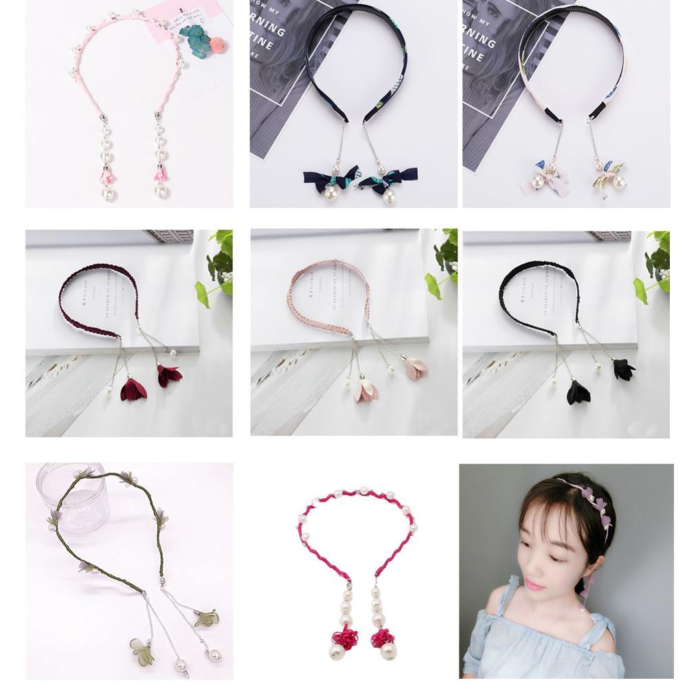 Women Girls Kids Headbands Pearl Rhinestone Flower Earrings Ear Studs Hoops Hair Hairband Accessories
