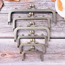 1PCS Bronze Coins Bags Metal Kiss Clasp Lock Frame New Fashion Handle 8.5-20cm DIY Purse Handbag Handle Acessories(China)