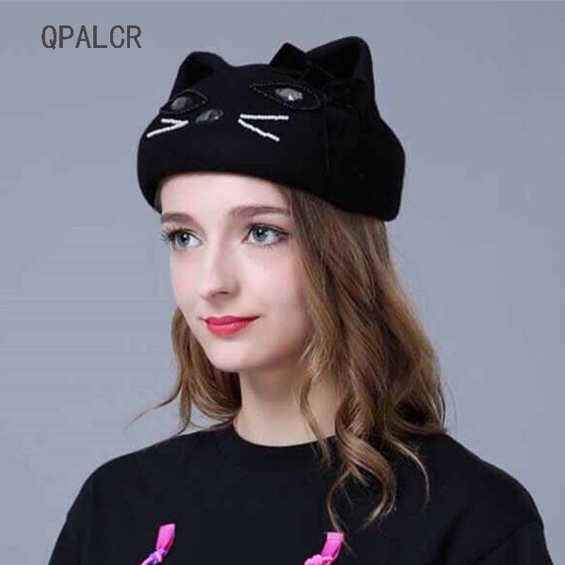 QPALCR Brand New Winter Wool Fedoras Hats For Women Vintage Felt Hat Lovely Bead Embroidery Berets Girls Cat Ears Cap Topper