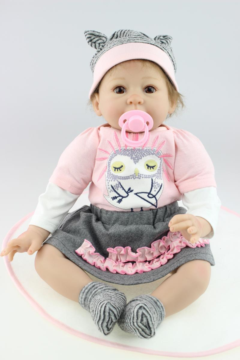 Реалистичные 55 см милые силикона Reborn Baby Doll игрушки с магнитом соска, игровой дом игрушка детей подарок на день рождения девочек Brinquedos