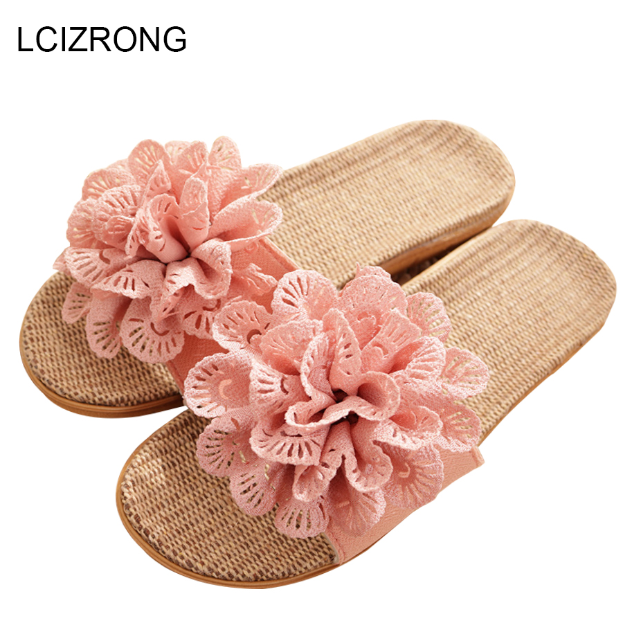 LCIZRONG Autumn Flax Home Slippers Women Floral Comfortable Slip On Bedroom Slippers Fashion Beach Non-slip Slapping Shoes Woman fashion floral butterflies pattern square shape flax pillowcase without pillow inner
