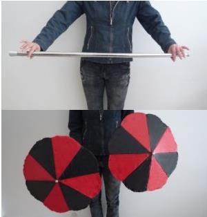 Baguette en deux parapluies-tours de magie, magie de scène, accessoires, mentalisme, gros plan, illusions, magie de fête