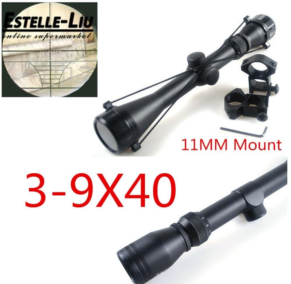 Wholesale Air soft Pro 3 9x40 Hunting Mil Dot Air Rifle Gun Optics Sniper Deer Hunting Scope + 11 mm Rail Mounts Free shipping|hunting scopes|mil dotgun optics - AliExpress