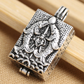 925 pure silver jewelry vintage thai silver box double carp rectangular box necklace pendant