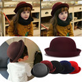 Cute Kids Children Boy Girls Wool Felt Trendy Round Top Bowler Hat Autumn Winter Warm Casual Travel Cap Gift Hair Styling Tool