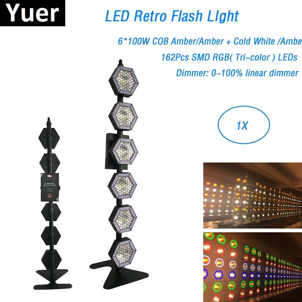 COB Lamp Bead 6X100W Amber LED Retro Flash Light DMX Controller LED Flash Light DMX Pixel Lights With 162Pcs RGB LEDS LED Light