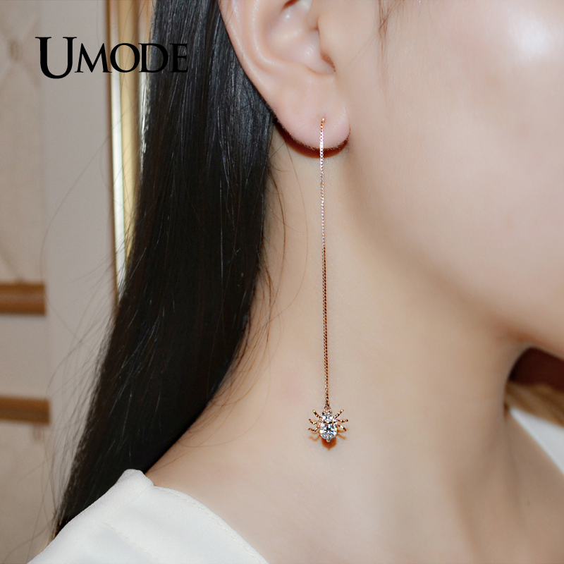 UMODE Spider Rose Gold Cubic Zirconia Long Dangle Earrings and Necklace Set Fashion Jewelry For Women Cute Christmas Gift US0034 in Jewelry Sets from Jewelry Accessories