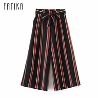 FATIKA 2017 Summer Women Pants Casual Striped Wide Leg Pants Ladies Elastic Waist Loose Trousers With