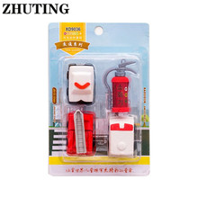 4pcs/set Fire Truck Extinguisher Rubber Eraser Kawaii Stationery School Supplies Correction Student Kids Gifts fire extinguisher shaped land line telephone