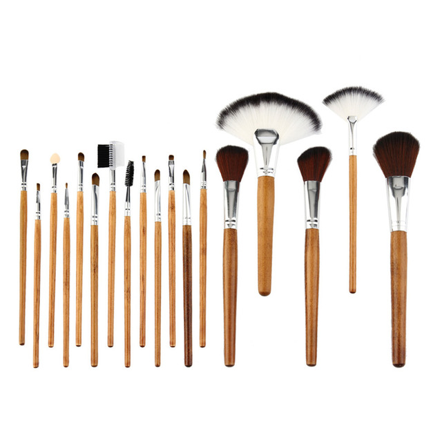 18 Pcs Folding Double Color Giraffe Lines Wooden Handle Makeup Brush Set Eyeshadow Blending Powder Foundation Cosmetic Tool