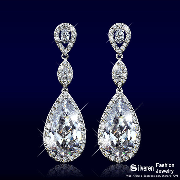 Clic Drop Earring Women Cubic Zirconia Diamond Earrings Fashion Silver Plated Lady Wedding Silveren Se1322 In From Jewelry