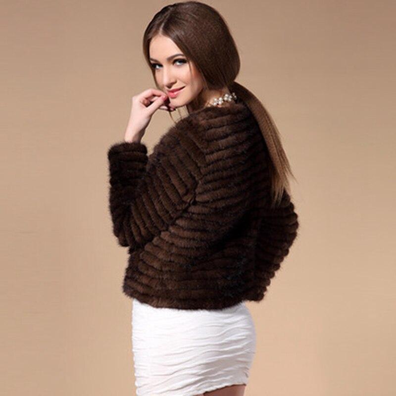L'hiver Femmes Vison Sexy Cut Femelle Rayé Manteau Avec Court Et Brown Zdfurs Tricoté Veste Fourrure Naturelle Automne Réel xgIwC4q