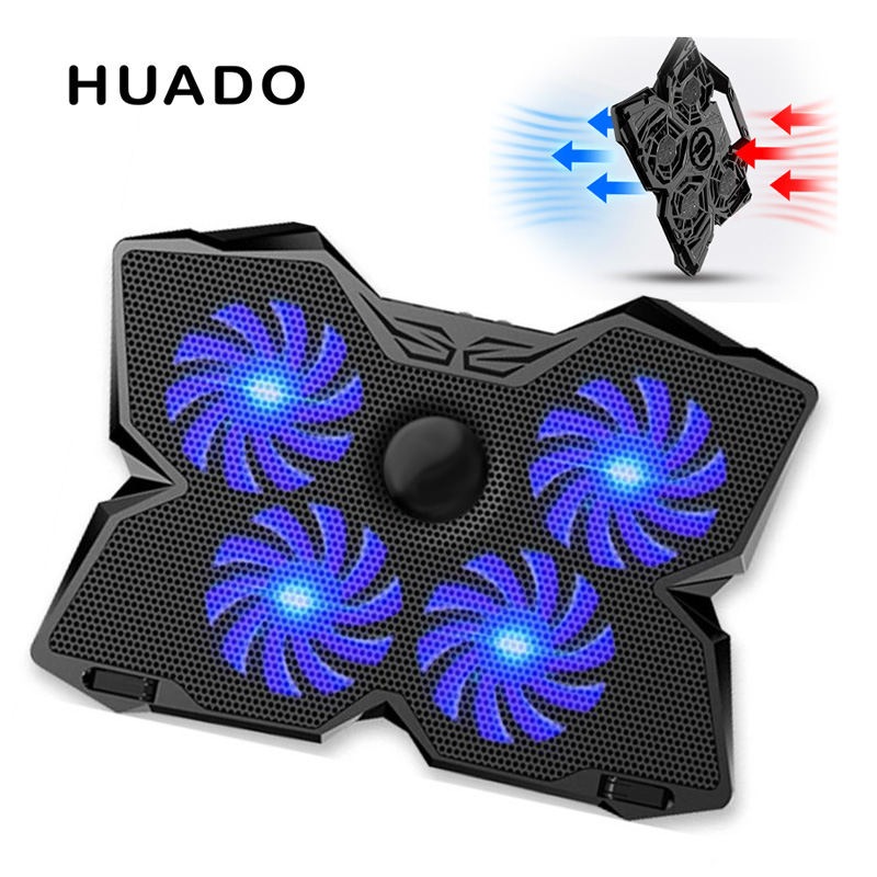 4 Fans Laptop Cooler Pad Portable Blue Led USB <font><b>Notebook</b></font> <font><b>Stand</b></font> Cooling for laptop 15