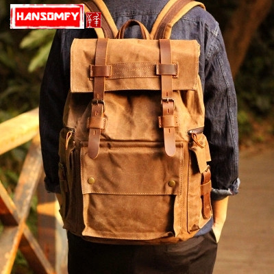 Retro Oil Wax Canvas casual Large capacity backpack men s 15 inch laptop backpack trend travel