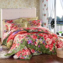 Flowers print 100% Cotton bedclothes Double Queen Full King size 4pcs Bedding sets Duvet cover+Flat bed sheet+pillow case