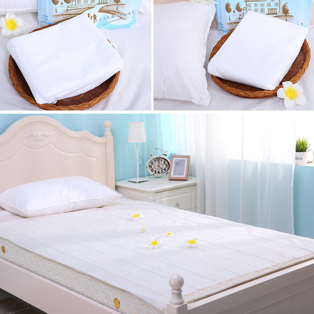 Disposable Sheets For Hotels: 1 Set Disposable Travel Kit Pillowcase Quilt Cover Bed