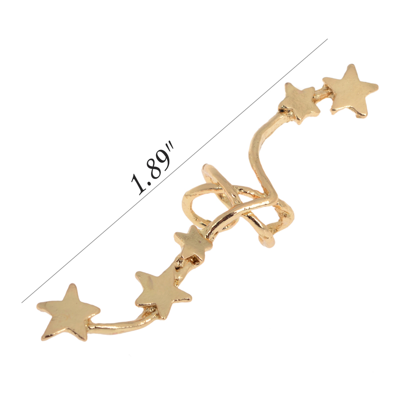 PINKSEE Hot Korean Chic Gold Silver Color Star Ear Bone Clip On Ear - Bisutería - foto 2