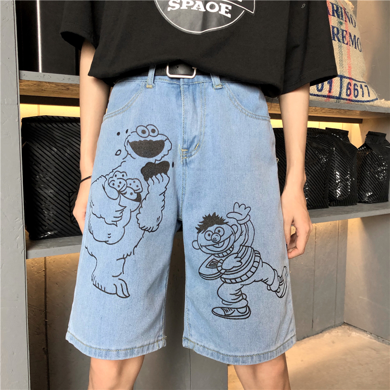 New Summer Denim Shorts Women 2019 Ins Vintage Printed Denim Pants Cotton Loose Five Pants Harajuku Cartoon Denim Shorts Female
