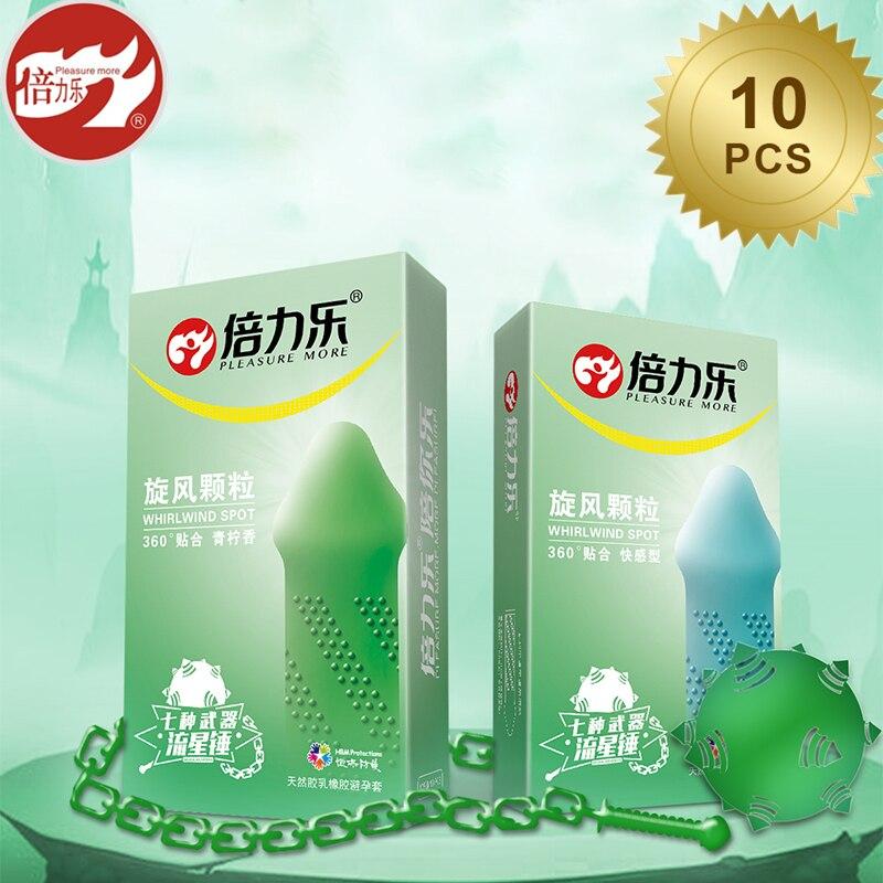 Beilile 10PCs 360 Degree Fit Stimulation Condoms With Lemon Flavor Cyclone Particles Tasteful G-Spot Condom Penis Sleeve For Sex