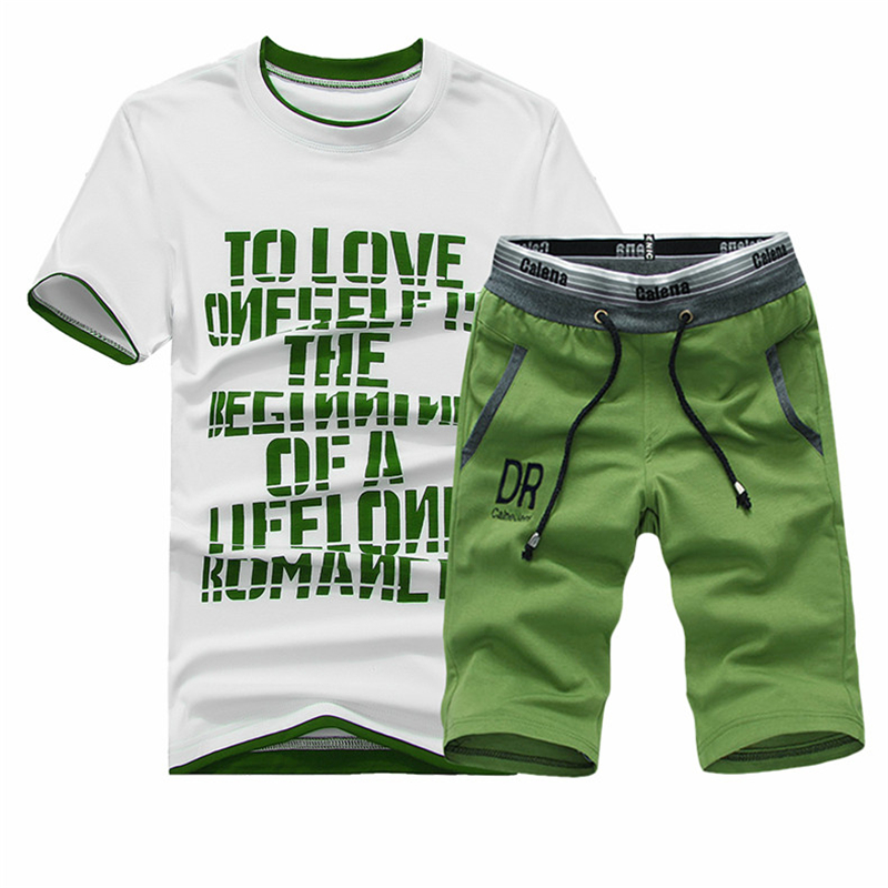 2018 New Men T Shirt Sets Letter Printed Summer Suits Casual Tshirt Men Tracksuits Brand Clothing M-4XL Set Male T-shirt