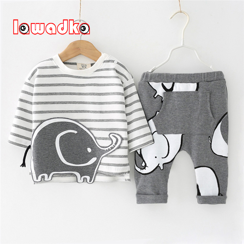 Lawadka 100%Cotton Spring Baby Boy Clothing Set 2 PCS T-shirt+Pants Elephant Pattern Casual Infant Baby Set Clothes fashion baby girl t shirt set cotton heart print shirt hole denim cropped trousers casual polka dot children clothing set