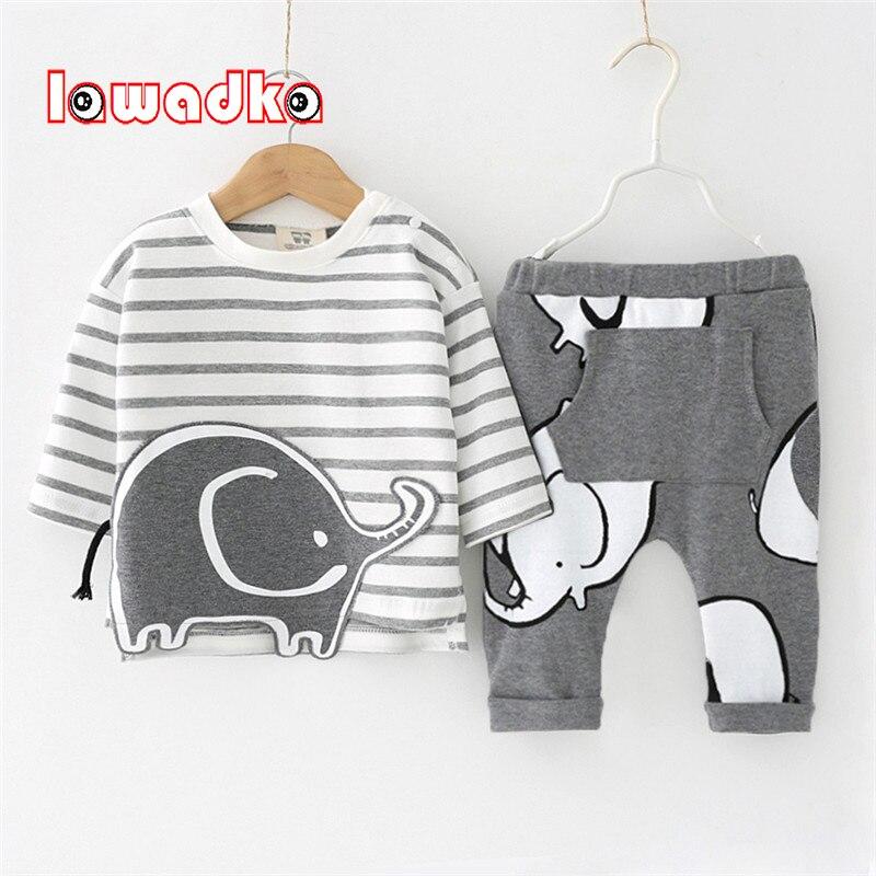 Lawadka 100% algodón de primavera Bebé Ropa 2 unids camiseta + Pantalones elefante patrón bebé infantil ocasional ropa