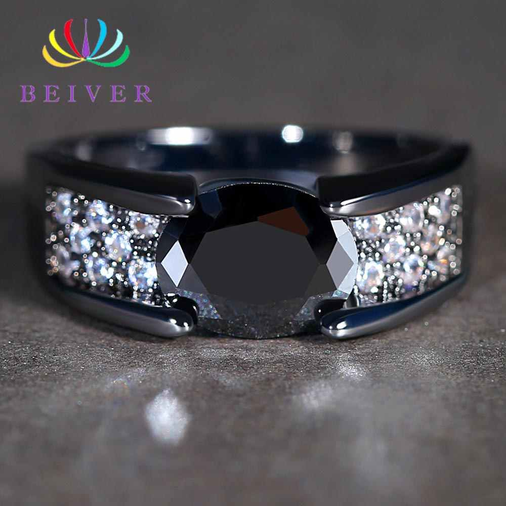 Beiver Exquisite Black Oval Zircon Rings for Women Micro Pave Clear Crystal Black Gold Color Wedding Bands Jewelry Dropshipping