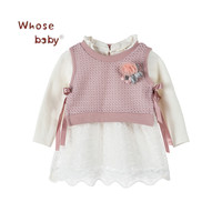 2Pcs Autumn Winter Baby Girl Dress Lace Knitted Lattice Puttee Vest Coat Floral Children Long Sleeves