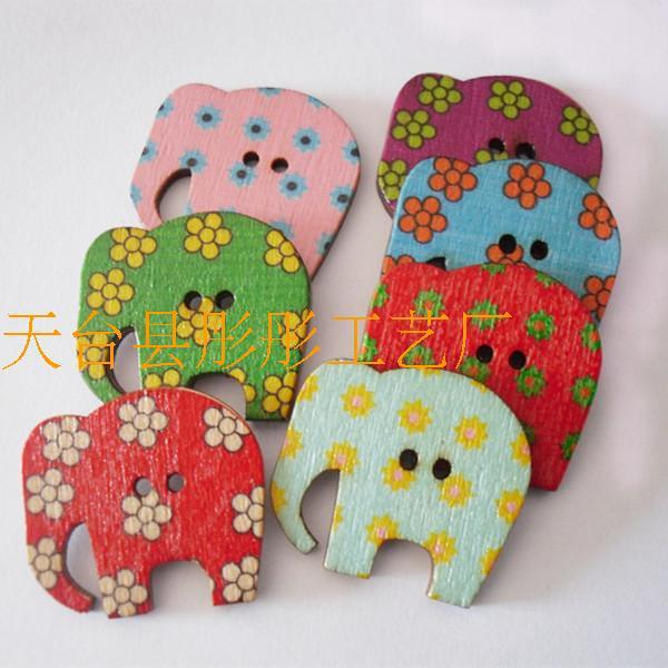 200 шт. цветы слон росписи деревянных кнопку одежда ручной DIY Аксессуар Ремесло изделий ручной работы смесь цветов