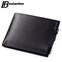 Bostanten 2015 High Quality Genuine Leather Men Wallets Famous Brand Mens Wallet Male Small Zipper Coin