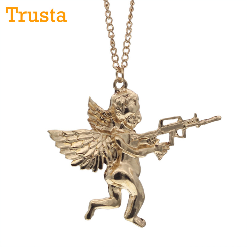 Trusta 2017 Fashion New Style Hot Women Jewelry Gold/Silver/Black Angel Baby carry Gun Stuff Pendant Long Necklace EG041