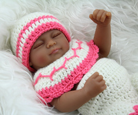 10 inch African American Baby Black Doll Mini Reborn Baby Girl Doll Full Vinyl Shower Sleeping Babies Toys Kids Birthday Gifts