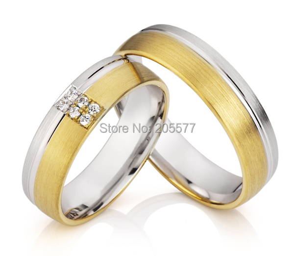 Handmade gold plating men and women wedding engagement couples rings sets in titanium stainless steel 2014 latest yellow gold plating bicolor titanium engagement wedding rings designs for men and women anillos gold plating