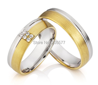 Handmade gold plating men and women wedding engagement couples rings sets in titanium stainless steel