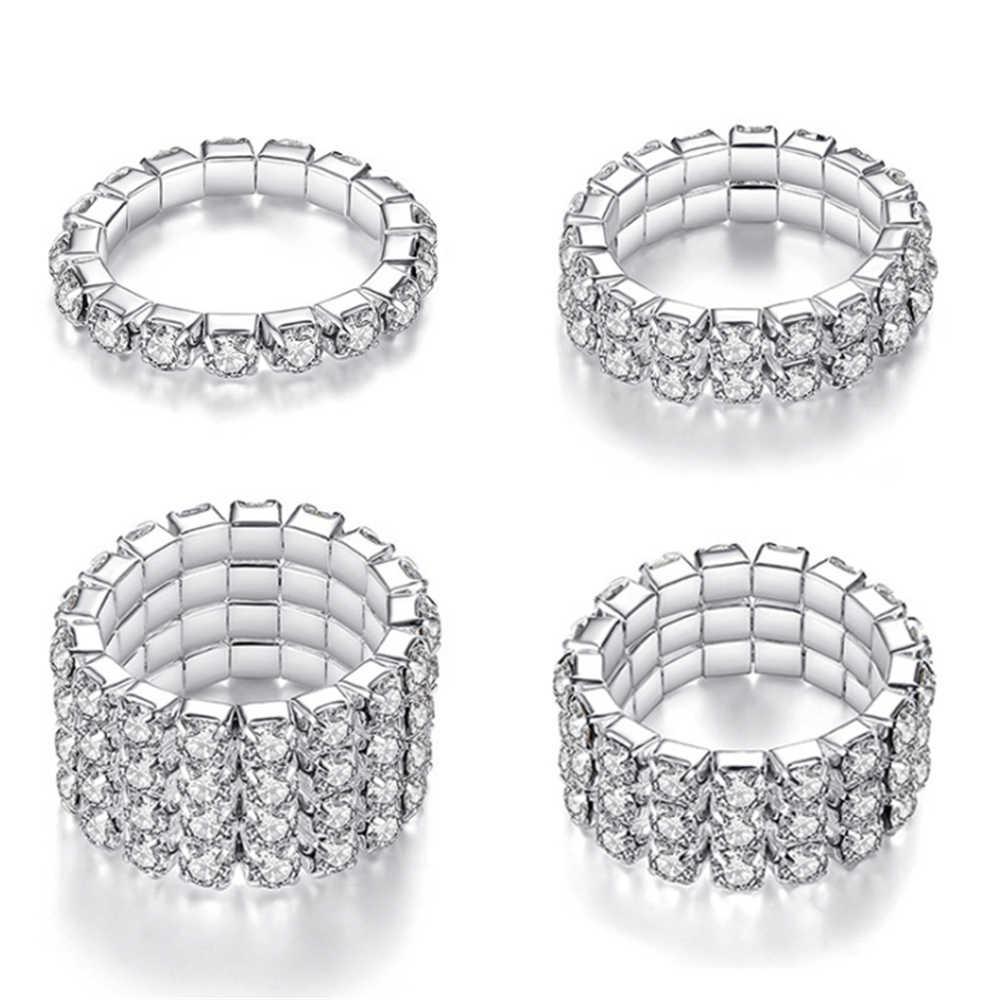 2020 coréen mode élastique Zircon plusieurs rangées anneaux pour femmes 1/2/3/4 rangée strass couleur argent bagues bijoux cadeaux
