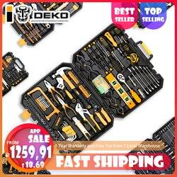 DEKO 168 piezas herramienta de mano Conjunto General herramientas de mano Kit con caja de herramientas de plástico caja de almacenamiento llave destornillador cuchillo