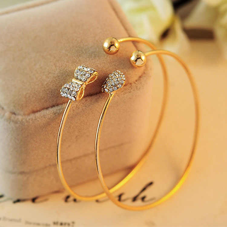 wholesale fashion full crystal bow peach Bracelet semi open arc Adjustable Bracelet