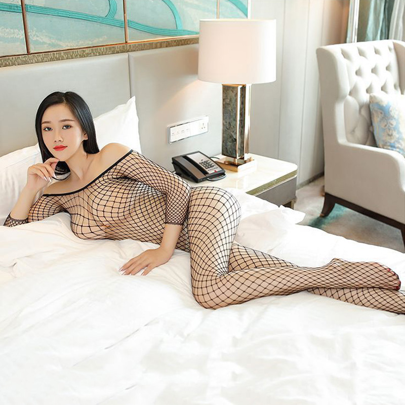 2018 Full Body Fishnet Crotchless Black Bodystocking Sexy Large Mesh Pantyhose Transparent Long-sleeve Open Crotch Tights