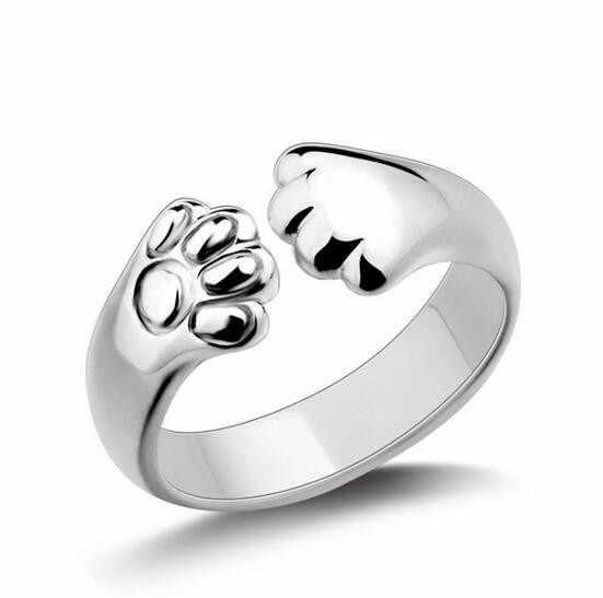 1 PC Lucu kucing cincin cincin perempuan pembukaan naga telinga kucing paw CRD12