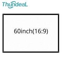 ThundeaL 60 дюймов 16:9 Портативный проектор экран для путешествий вечерние домашний кинотеатр поддержка светодиодный пластиковый Настенный про...