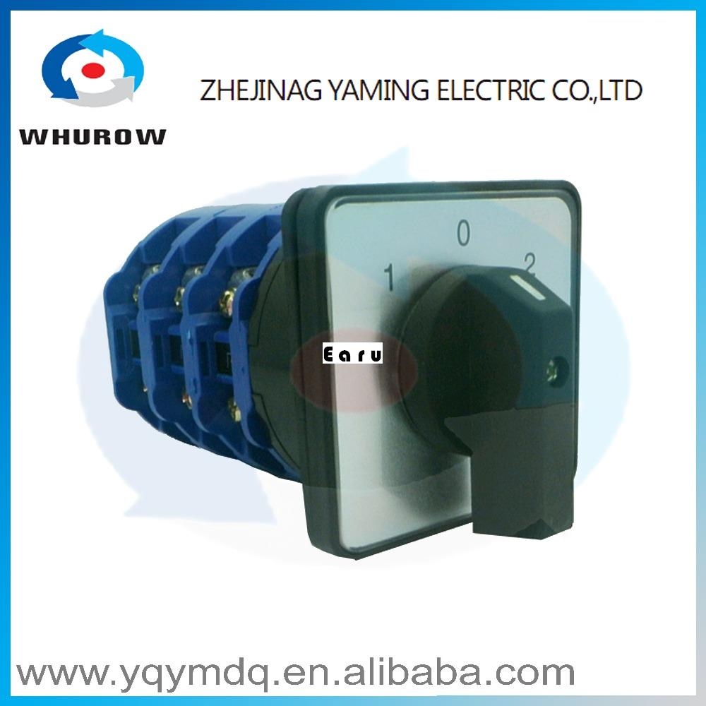 LW26-125/3 High quality dc voltage manual electrical changeover rotary cam switch three poles(phase) sliver point contacts 660v ui 10a ith 8 terminals rotary cam universal changeover combination switch