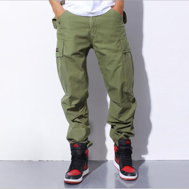 Мульти-карман мужчины чистый цвет единые брюки и комфортно досуг новые зимние брюки мужчины луч ноги брюки карман