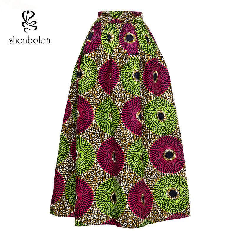 African Women Skirt African Batik Ankara Print Traditional Costume Flower Print Casual Dashiki Skirt