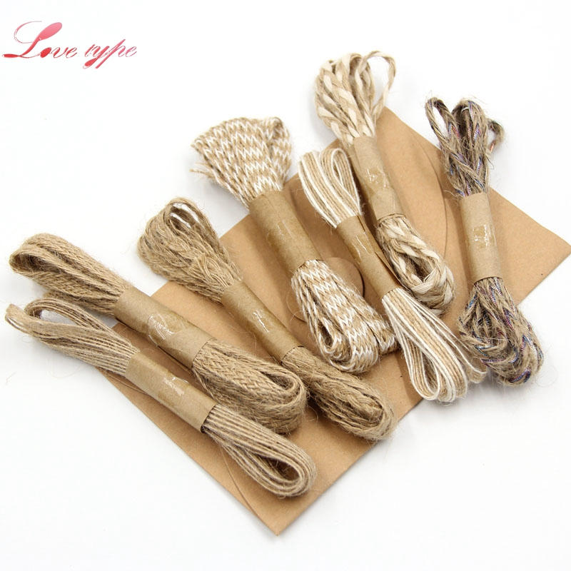 2M/Lot Natural Hessian Jute Twine Rope Burlap Ribbon DIY Craft Vintage For Home Wedding Party Decoration Handmade Gifts Supplies