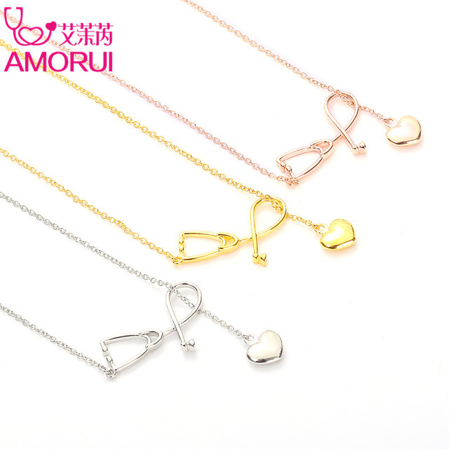 AMORUI Medical Stethoscope Lariat Heart Pendant Necklace Nurse Doctor Gold/Silver Color Gift Fashion Jewelry Bijoux Femme 4