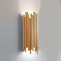Nordic personality metel gold pipe wall lamp living room villa industrial background wall lighting sconce