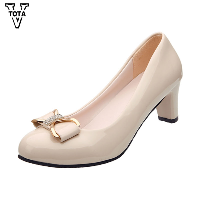 VTOTA Fashion Spring Autumn Women Shoes Pumps Bow Wedges Basic Office Chunky High Heels Shoes Woman Slip-On Solid Lady Shoes LS2